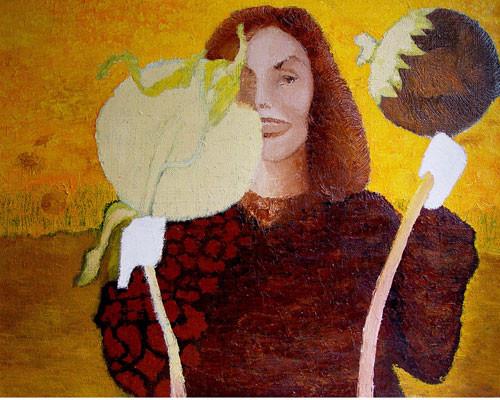 """""""Женщина в подсолнуховом поле в белых перчатках на руках"""" ::: Наира Рустамова"""