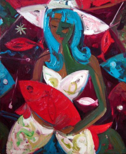 """""""Девушка с красной рыбой"""" ::: Вугар Али"""